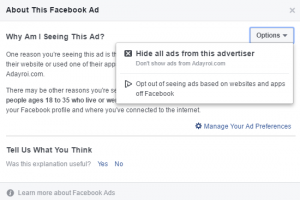 Facebook Ad Option